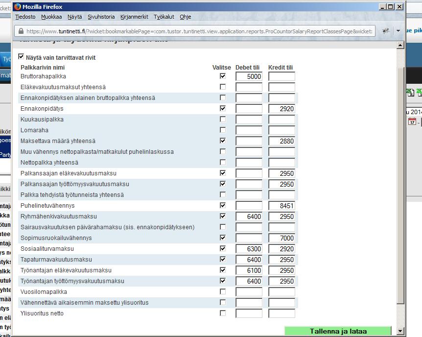Netvisor-, Finvaldi-, Asteri-, sekä Procountor-ikoneista aukeava ikkuna
